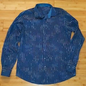 Bugatchi classic fit blue rainbow pinstripe shirt